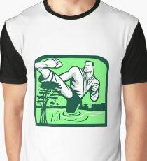 Martial Arts Fighter Kicking Cypress Tree Retro Graphic T-Shirt
