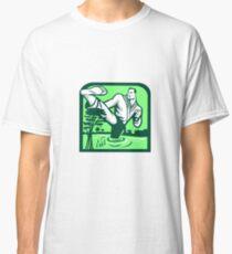 Martial Arts Fighter Kicking Cypress Tree Retro Classic T-Shirt