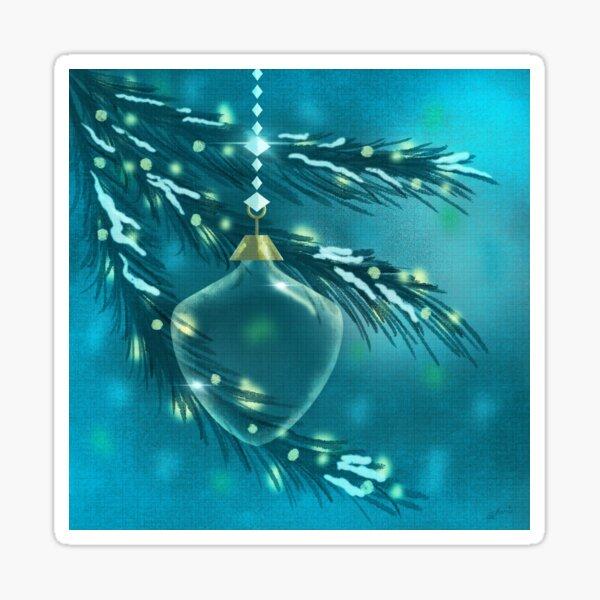 Glass Vintage Ornament on Spruce Tree Sparkling at Night Sticker