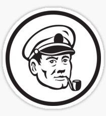 Sea Captain Smoke Pipe Circle Retro Sticker