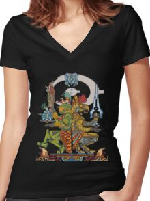 "Halo Inspired Maya design ""Gods Among""  Women's Fitted V-Neck T-Shirt"