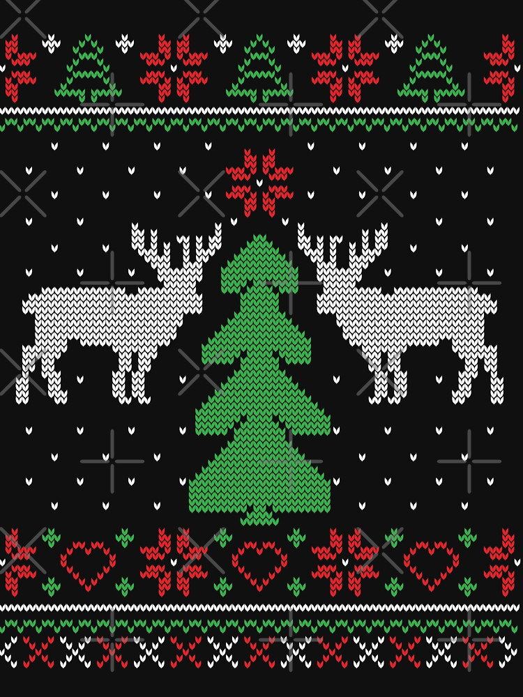 Merry Christmas Tree Reindeer Ugly Sweater by NextLVLShirts