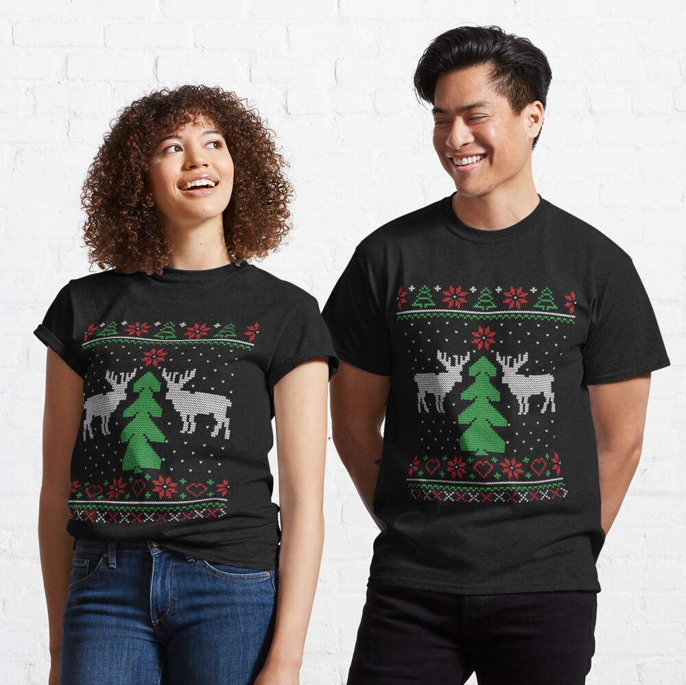 Merry Christmas Tree Reindeer Ugly Sweater Classic T-Shirt
