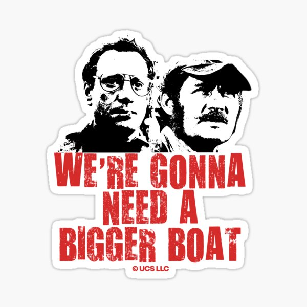 Jaws movie we're gonna need a bigger boat retro vintage design. Birthday party gifts. Officially licensed merch. Sticker