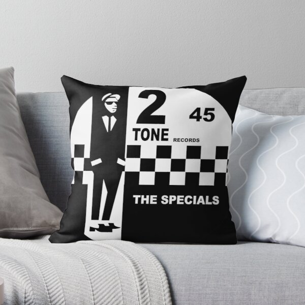 the specials black and white 45 circle records Throw Pillow