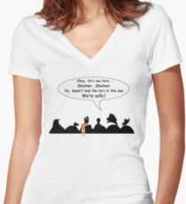 We're safe! Women's Fitted V-Neck T-Shirt