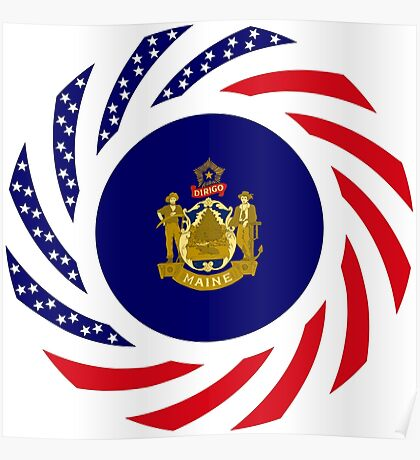 Maine Murican Patriot Flag Series 1.0 Poster