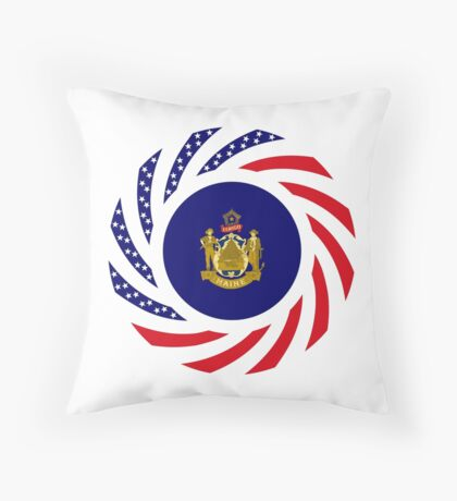 Maine Murican Patriot Flag Series 1.0 Throw Pillow