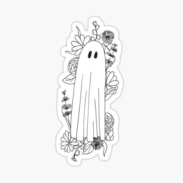 ghost in flowers Sticker