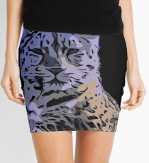 Ice Blue Tiger Abstract  Mini Skirt