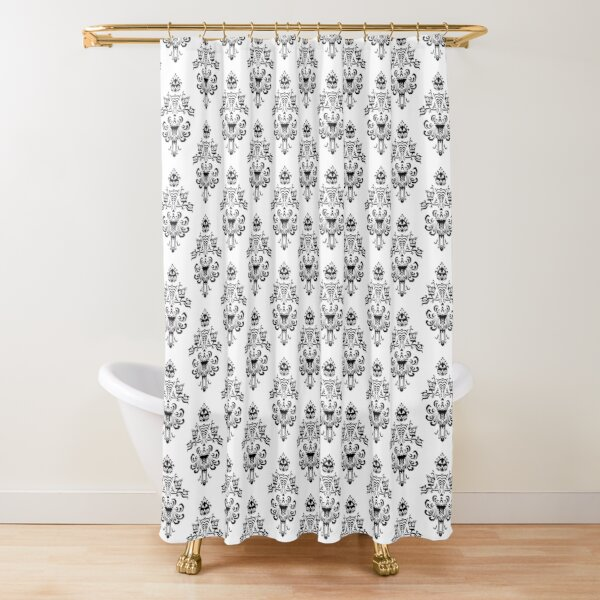 Haunted Mansion Wallpaper Black and White Shower Curtain