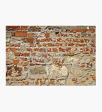 Weathered stained old brick wall background Photographic Print