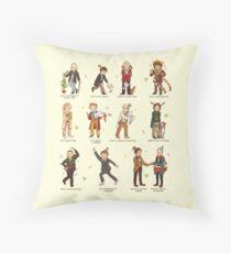 The Twelve Doctors of Christmas Throw Pillow