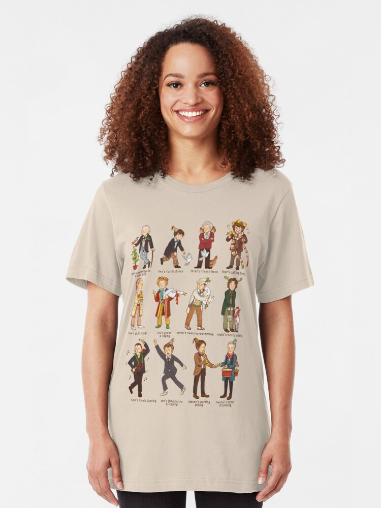 Alternate view of The Twelve Doctors of Christmas Slim Fit T-Shirt