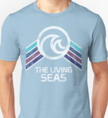 The Living Seas Distressed Logo in Vintage Retr Style T-Shirt