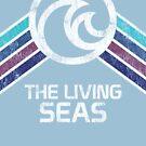 Das lebende Meer beunruhigte Logo in der Weinlese Retr Art von retrocot