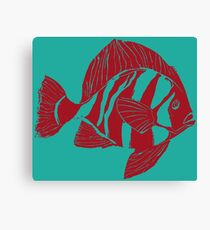 TROPICAL FISH ( RED  ON TOURQUOISE ) Canvas Print