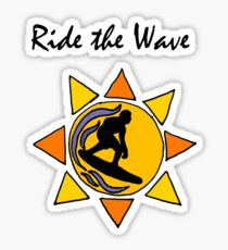 Cool Ride the Wave Surfing Art Sticker
