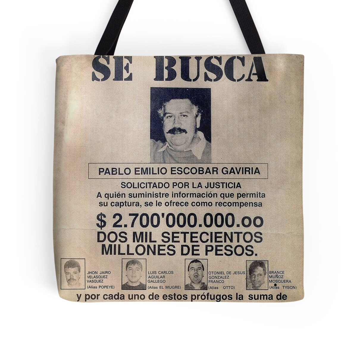 """""""Pablo Escobar Wanted Poster"""" Tote Bags By Pornflakes"""