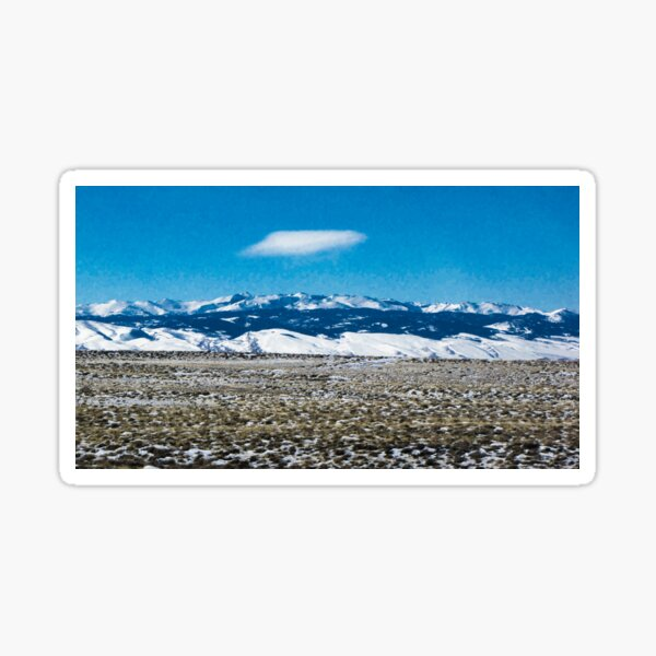 Snowy Mountains ~ Vintage Style Sticker