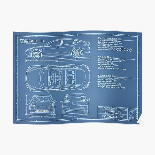 Tesla model 3 blueprint and specs Poster