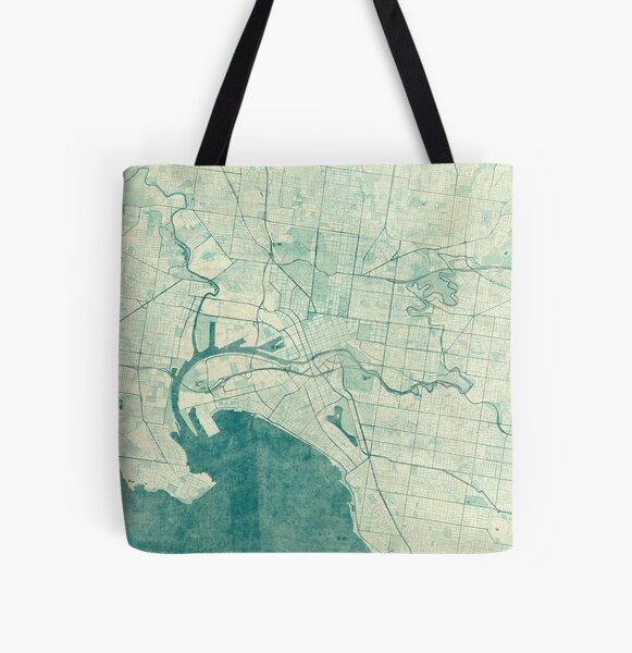 Melbourne Map Blue Vintage All Over Print Tote Bag