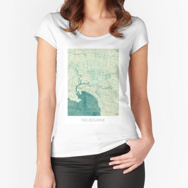 Melbourne Map Blue Vintage Fitted Scoop T-Shirt