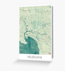 Melbourne Map Blue Vintage Greeting Card
