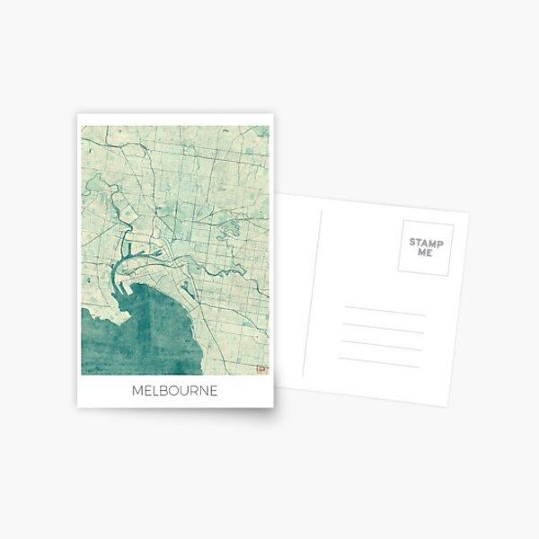 Melbourne Map Blue Vintage Postal