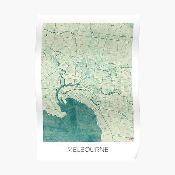 Melbourne Map Blue Vintage Poster