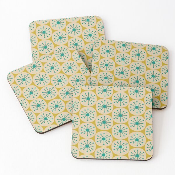 Atomic Retro Dots - Midcentury Modern Pattern in Mid Mod Turquoise Teal, Beige, and Mustard Coasters (Set of 4)