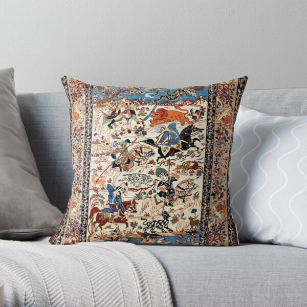 Blue Antique Persian Isfahan Silk Rug with Flowers Animals Print Throw Pillow