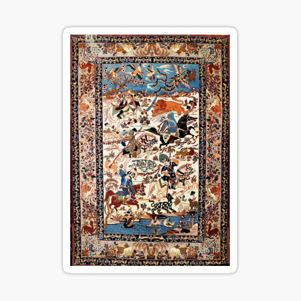 Blue Antique Persian Isfahan Silk Rug with Flowers Animals Print Sticker