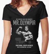 Arnold Schwarzenegger 1975 Mr. Olympia  Women's Fitted V-Neck T-Shirt