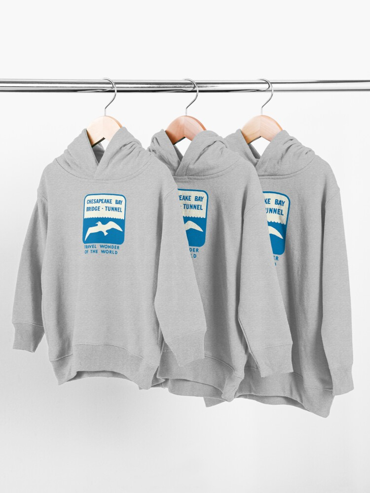 Alternate view of Chesapeake Bay Bridge Tunnel Vintage Travel Decal Toddler Pullover Hoodie