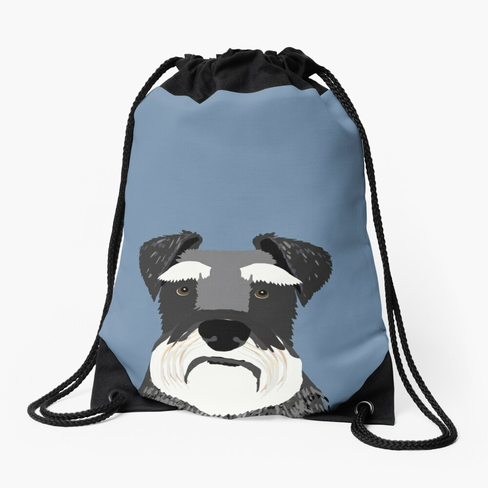 Schnauzer navy blue grey black and white funny pet friendly dog gift for dog person  Drawstring Bag