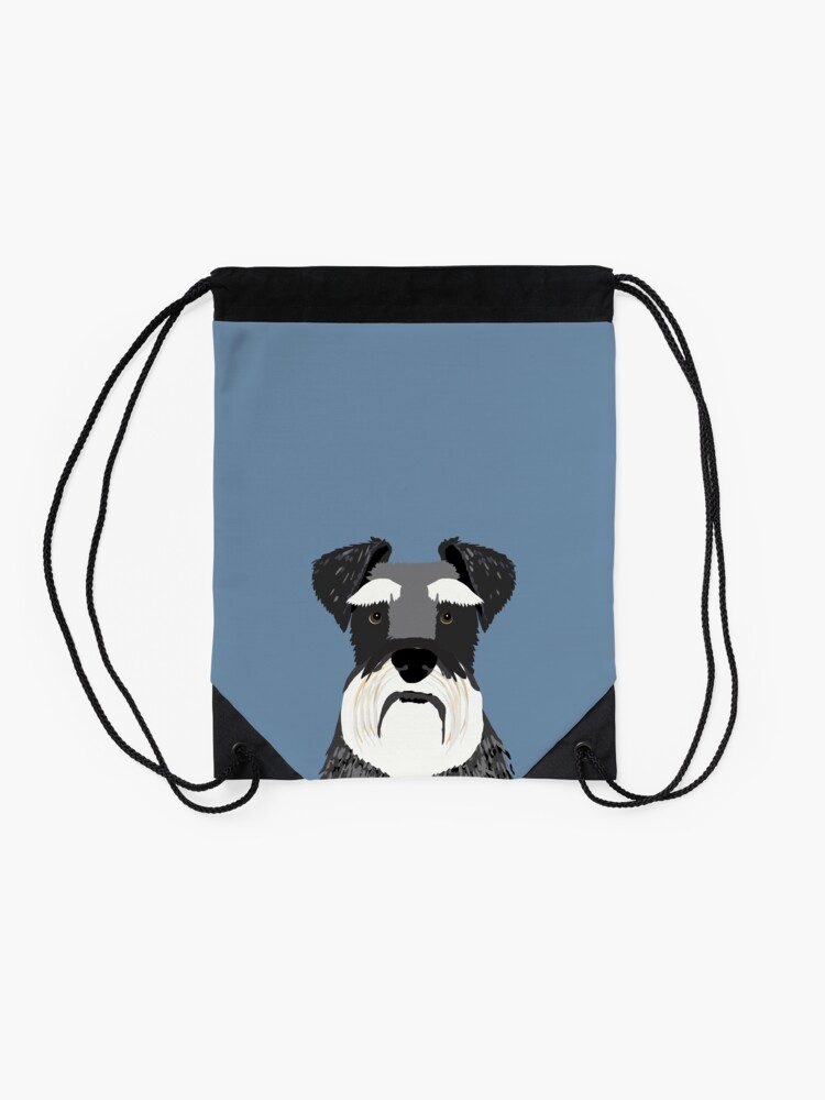 Alternate view of Schnauzer navy blue grey black and white funny pet friendly dog gift for dog person  Drawstring Bag