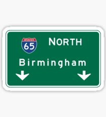 Birmingham, Road Sign, Alabama Sticker