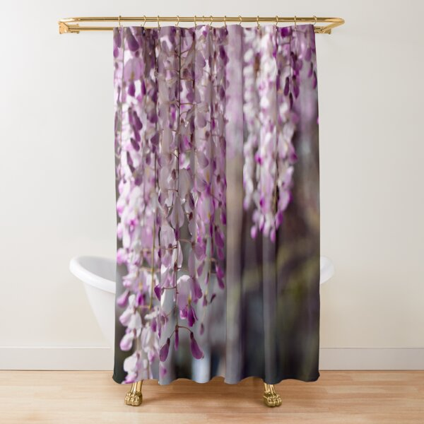 Spring Shower Curtain Lake and Blooming Flora Print for Bathroom