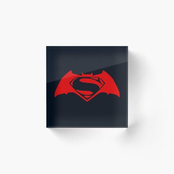 Bat versus Alien Superhero Logo Acrylic Block