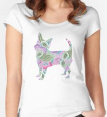 Chihuahua in Colorful Floral Garden Pattern Women's Fitted Scoop T-Shirt