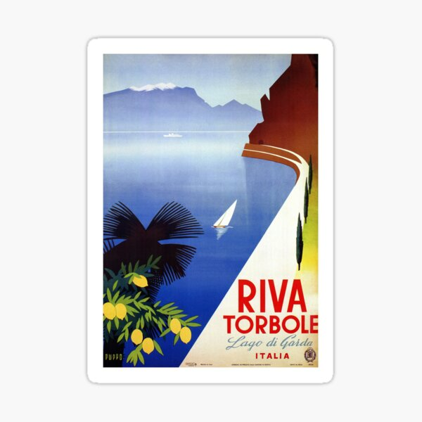 Travel Italy 1920s Lake Garda Riva Torbole Gardesana advert Sticker