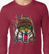 Sabre Tooth Tiger Chillin' With Winter Beanie Long Sleeve T-Shirt