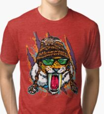 Sabre Tooth Tiger Chillin' With Winter Beanie Tri-blend T-Shirt