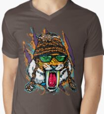 Sabre Tooth Tiger Chillin' With Winter Beanie Mens V-Neck T-Shirt