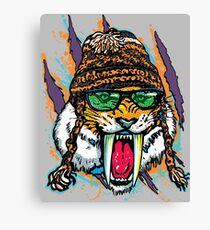 Sabre Tooth Tiger Chillin' With Winter Beanie Canvas Print