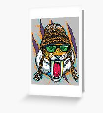 Sabre Tooth Tiger Chillin' With Winter Beanie Greeting Card