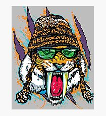 Sabre Tooth Tiger Chillin' With Winter Beanie Photographic Print