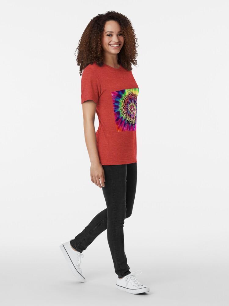 Alternate view of Rainbow Tie Dye Mandala Tri-blend T-Shirt