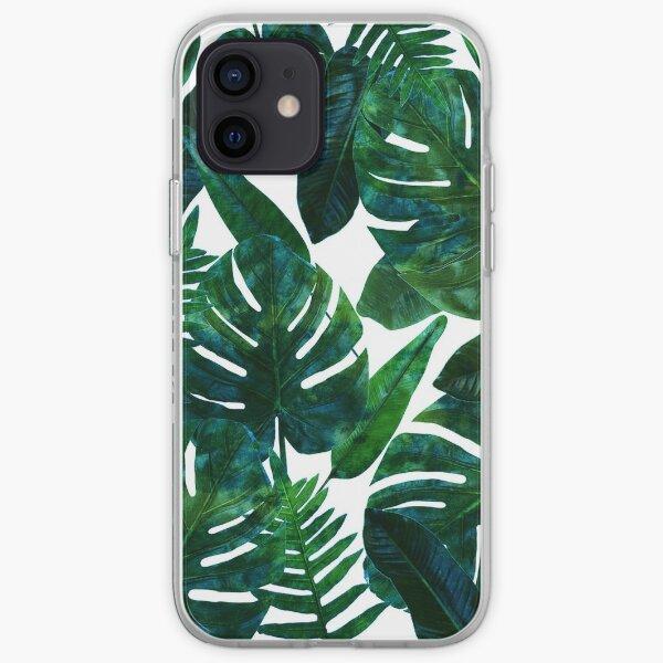 Perceptive Dream, Tropical Jungle Nature Botanical Watercolor Painting, Palm Monstera Bohemian Illustration iPhone Soft Case